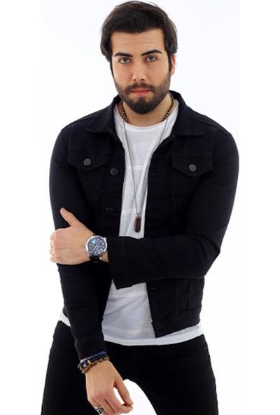 Poniba Erkek Siyah Likralı Denim Jeans Kot Ceket