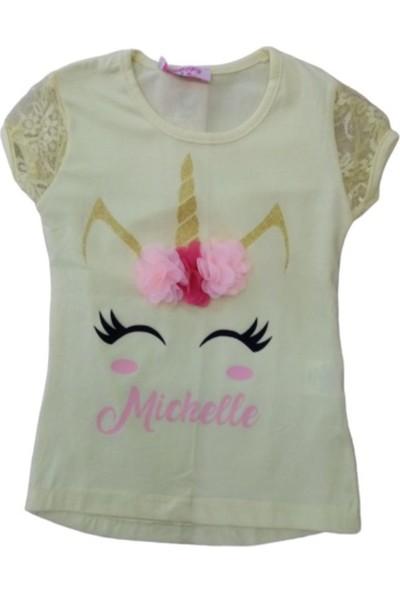 Whoops Kız Çocuk Dar Kalıp Önü Unicorn Desenli Tişört