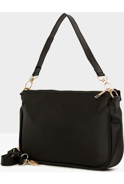 Ceylinalya Saten Kadın Siyah Baget Çanta