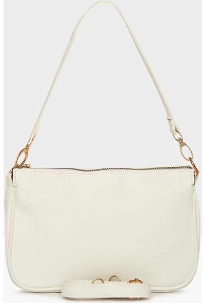 Ceylinalya Saten Kadın Beyaz Baget Çanta