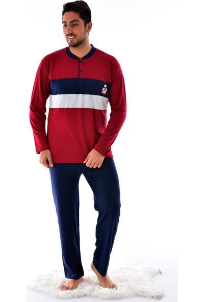 Ri̇molli̇ Erkek 845 Uzun Kol Süprem Pijama Takımı Bordo-Siyah