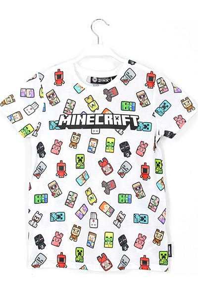 Jinx 360 Derece Minecraft Baskılı Erkek Çocuk T Shirt 5 - 15 Yaş Aralığı Beyaz