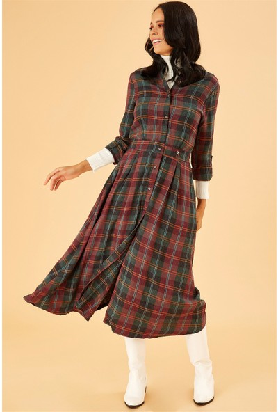 Ayakkabı Delisiyim Kışlık Uzun Kol Ekoseli Elbise