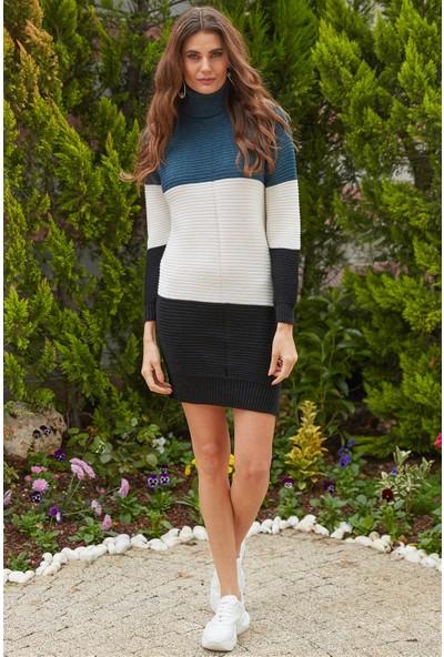 Ayakkabı Delisiyim Üç Renkli Balıkçı Yakalı Lacivert Triko Elbise