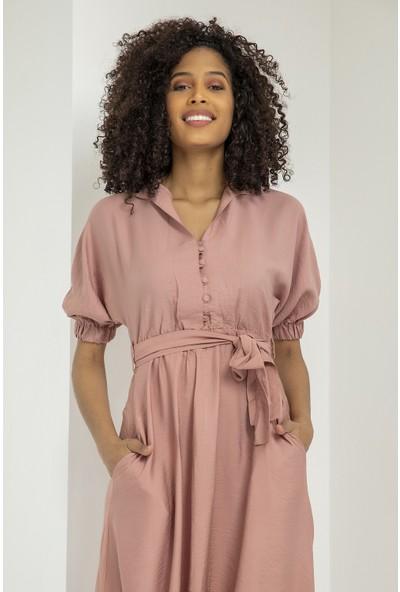 Podyum Kadın Kolu Lastikli Düğmeli Keten Elbise Podyum