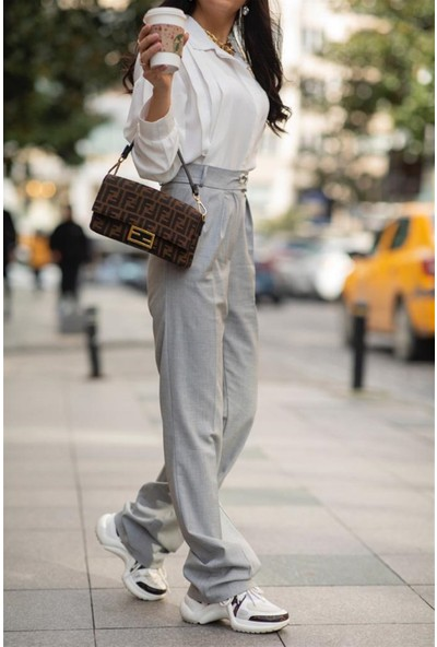 Seda Yalçın Atelier Gri Palazzo Düğme Detaylı Pantolon