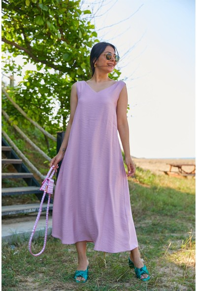 Seda Yalçın Atelier Pudra V Yaka Basic Kolsuz Elbise