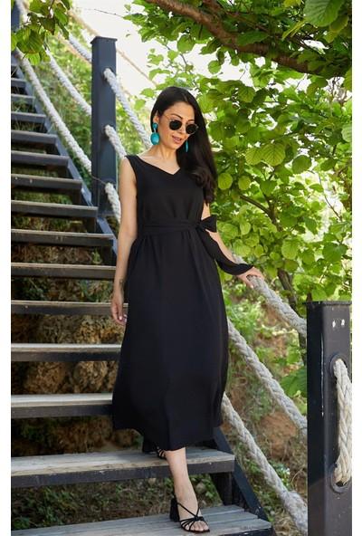Seda Yalçın Atelier Siyah V Yaka Basic Kolsuz Elbise