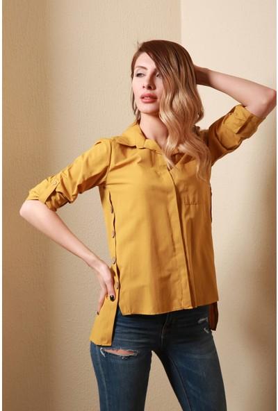 Reyon Uzun Kollu Kadın Gömlek Hardal