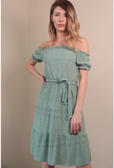 Reyon Işlemeli Kayık Yaka Elbise Mint