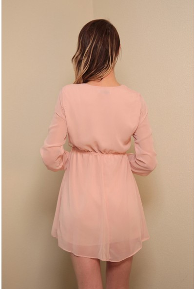 Reyon Kruvaze Yaka Bel Kuşaklı Elbise Pudra