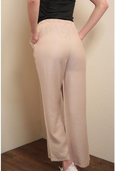Reyon Bel Lastikli Salaş Kadın Pantolon Bej