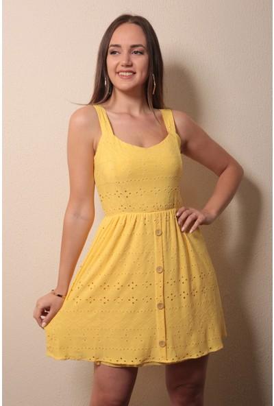 Reyon Askılı Işlemeli Elbise Sarı