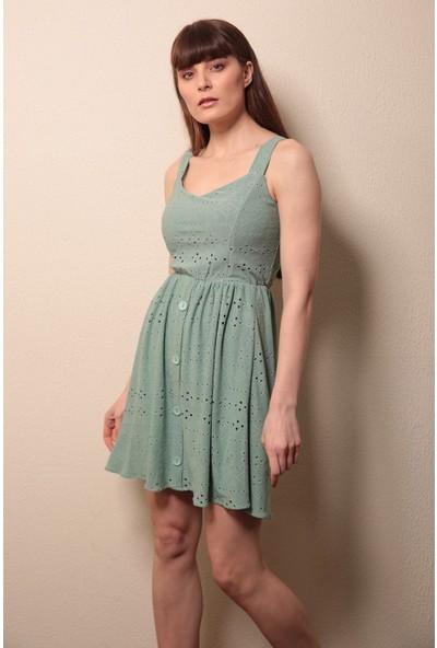 Reyon Askılı Işlemeli Elbise Mint