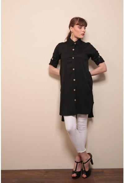Reyon Cepli Uzun Gömlek Tunik Siyah