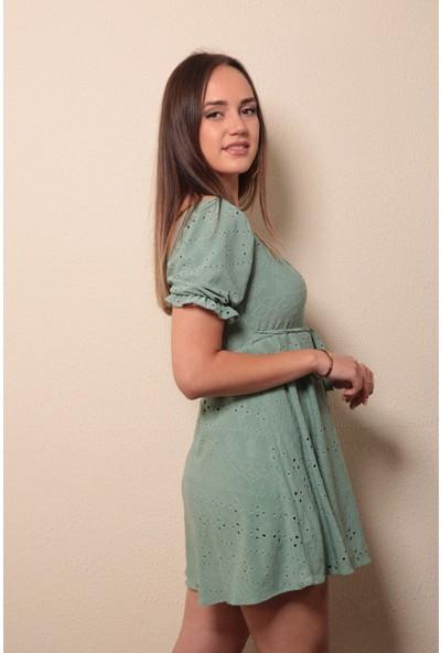 Reyon Işlemeli Mini Elbise Mint