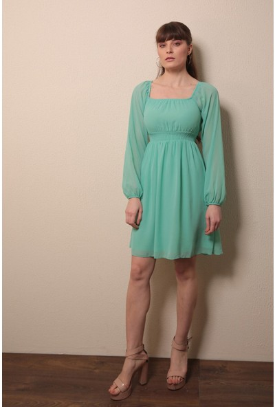 Reyon Kayık Yaka Elbise Mint