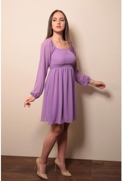 Reyon Kayık Yaka Elbise Lila