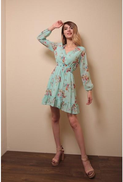 Reyon Çiçek Baskılı Elbise Mint