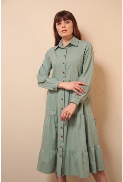 Reyon Gömlek Yaka Elbise Mint