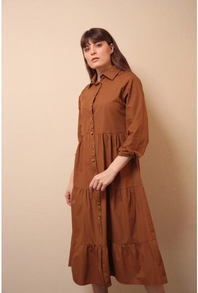 Reyon Gömlek Yaka Elbise Taba