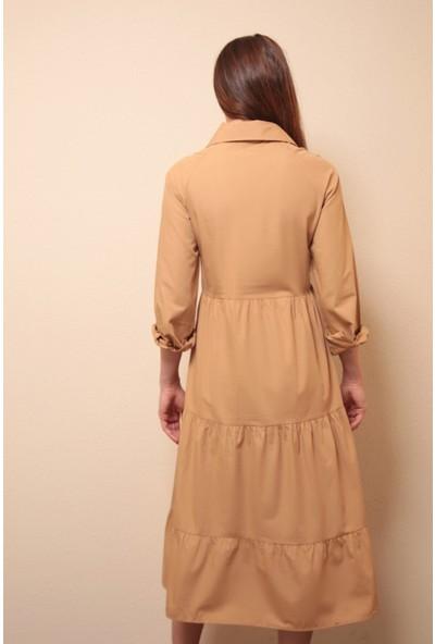 Reyon Gömlek Yaka Elbise Vizon