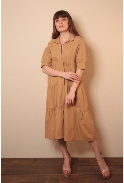 Reyon Kısa Kollu Uzun Elbise Taba