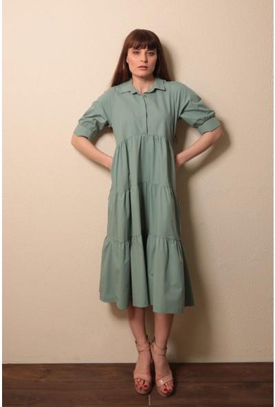 Reyon Kısa Kollu Uzun Elbise Mint