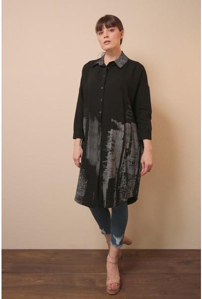 Reyon Baskılı Uzun Kol Tunik Siyah