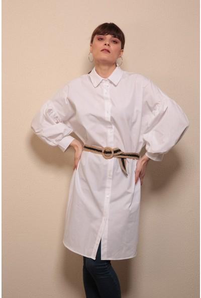 Reyon Kemerli Gömlek Yaka Tunik Beyaz