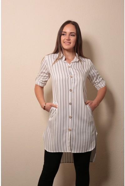 Reyon Gömlek Yaka Çizgili Tunik Siyah/beyaz