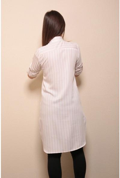 Reyon Gömlek Yaka Çizgili Tunik Beyaz/pudra