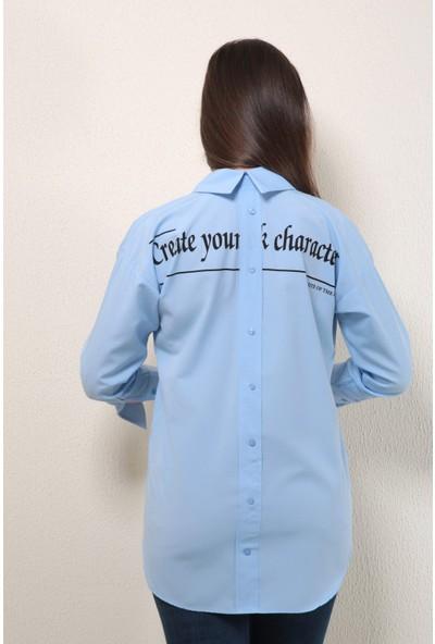 Reyon Baskılı Gömlek Yaka Tunik Mavi