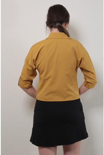 Reyon Pul Işlemeli Kadın Gömlek Hardal