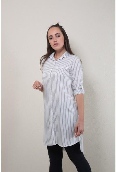 Reyon Çizgili Uzun Tunik Siyah/beyaz