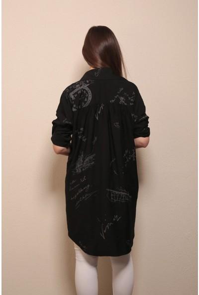 Reyon Gömlek Yaka Baskılı Salaş Tunik Siyah