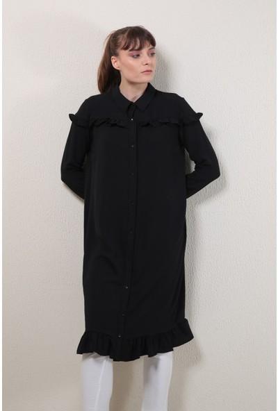 Reyon Gömlek Yaka Fırfırlı Tunik Siyah