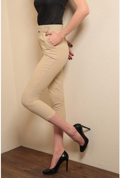 Reyon Bel Kemerli Keten Kadın Pantolon Bej