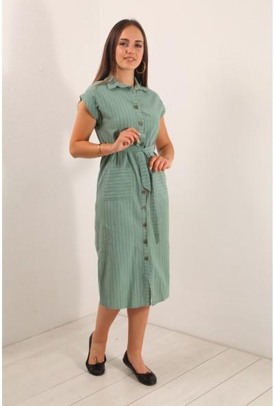 Reyon Sıfır Kol Çizgili Keten Elbise Mint