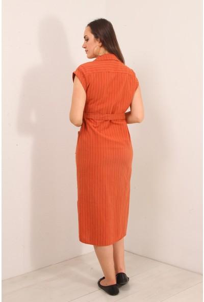 Reyon Sıfır Kol Çizgili Keten Elbise Kiremit