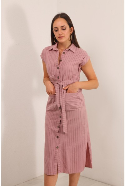 Reyon Sıfır Kol Çizgili Keten Elbise Pudra