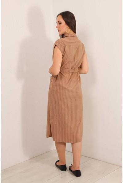 Reyon Sıfır Kol Çizgili Keten Elbise Taba
