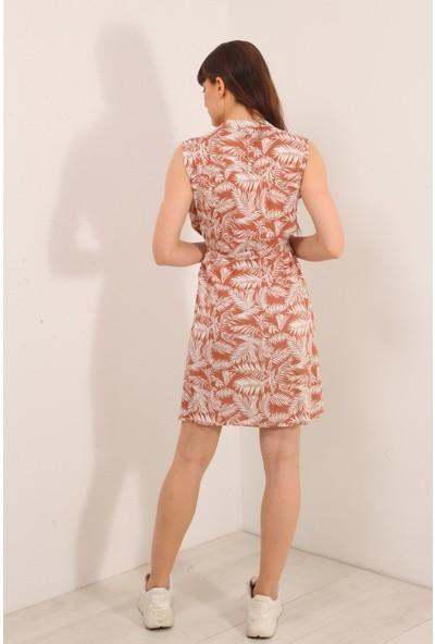 Reyon Yaprak Desen Sıfır Kol Kuşaklı Elbise Taba