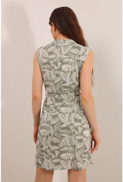 Reyon Yaprak Desen Sıfır Kol Kuşaklı Elbise Haki