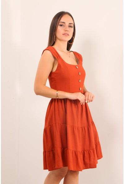 Reyon Kalın Askılı Ön Düğme Keten Elbise Kiremit