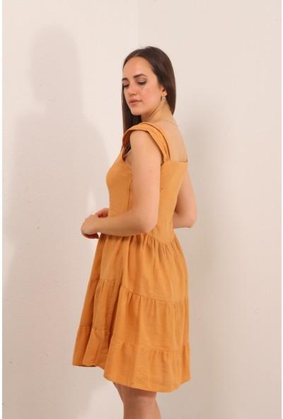Reyon Kalın Askılı Ön Düğme Keten Elbise Taba