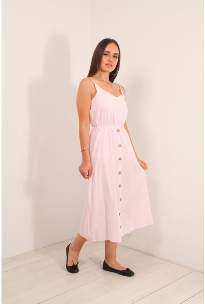 Reyon Ince Askı Bel Büzgülü Elbise Pudra