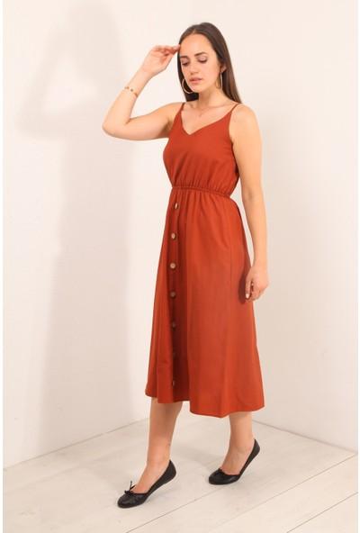 Reyon Ince Askı Bel Büzgülü Elbise Kiremit