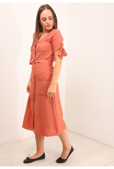 Reyon Çift Cep Düğmeli Uzun Elbise Kiremit