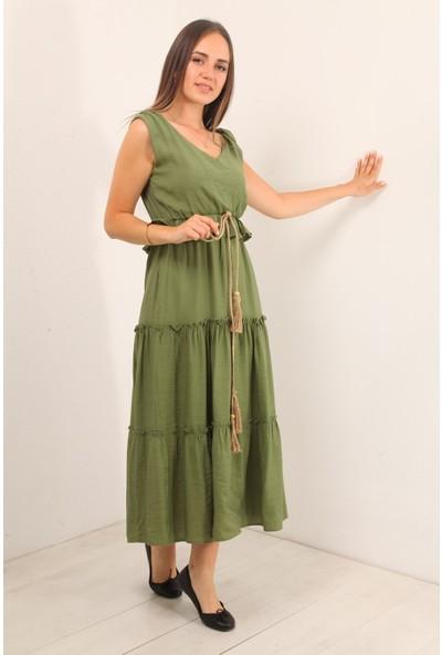 Reyon Ön Arka V Parçalı Uzun Elbise Haki